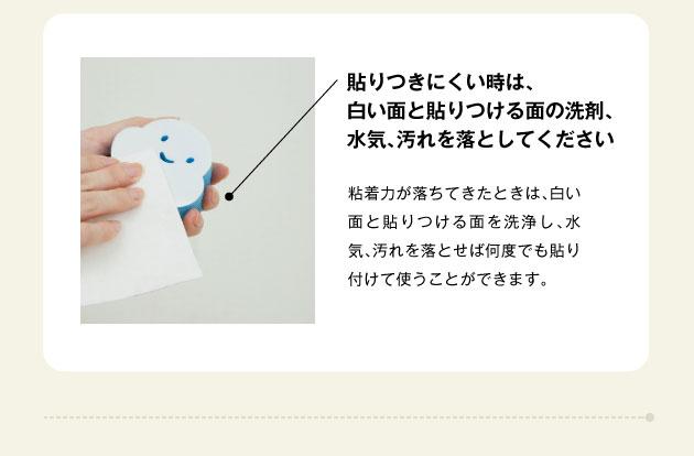 貼りつきにくいときは白い面と貼り付ける面の洗剤、水気、汚れを落として下さい